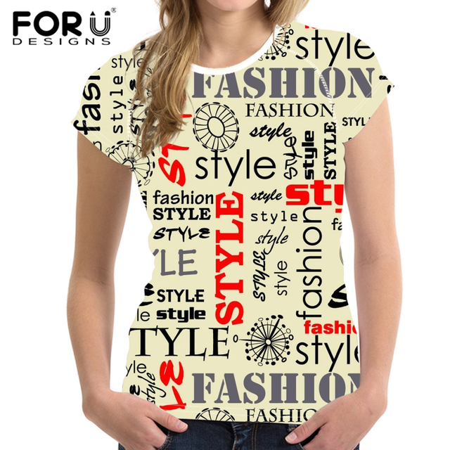 c99b9ed0ff2 FORUDESIGNS Women T Shirt Tees Woman Tops Elastic English Alphabet Printing  Ladies Basic Shirt Girl Female T-shirt Plus Size XXL