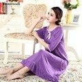 2016 Novos Modais Sleepshirts Das Mulheres Verão Metade Longa Camisola Sleepwear One piece-vestido de Noite