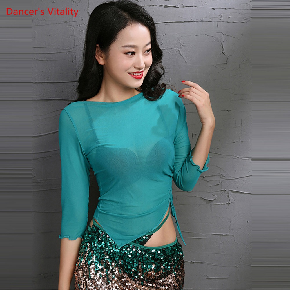 Sexy Belly Dance Long Sleeve Top Knitted Top Dancer Design Basic Loose Blouse Transparent Peacock Black Blue Gray