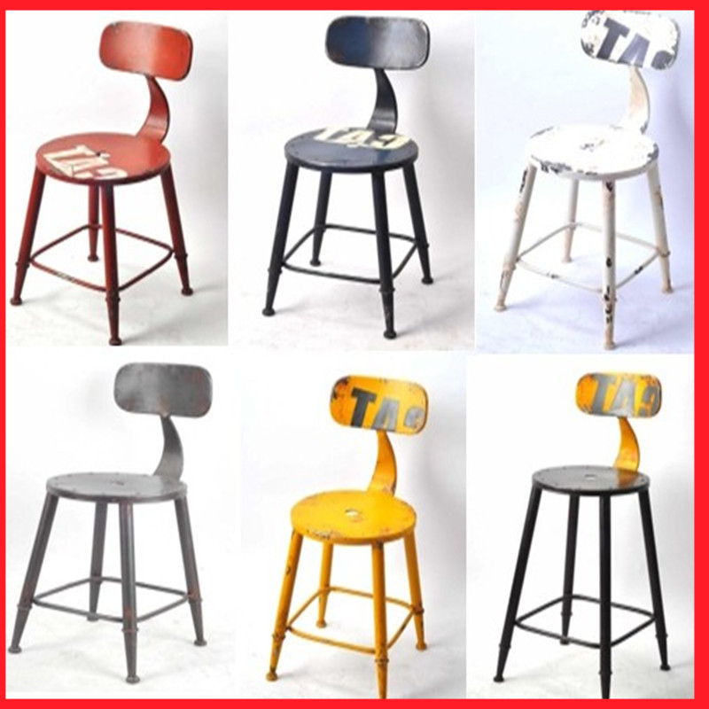 American Retro Bar Chairs Stylish Minimalist Stool Chair Continental Iron Personality Back Home