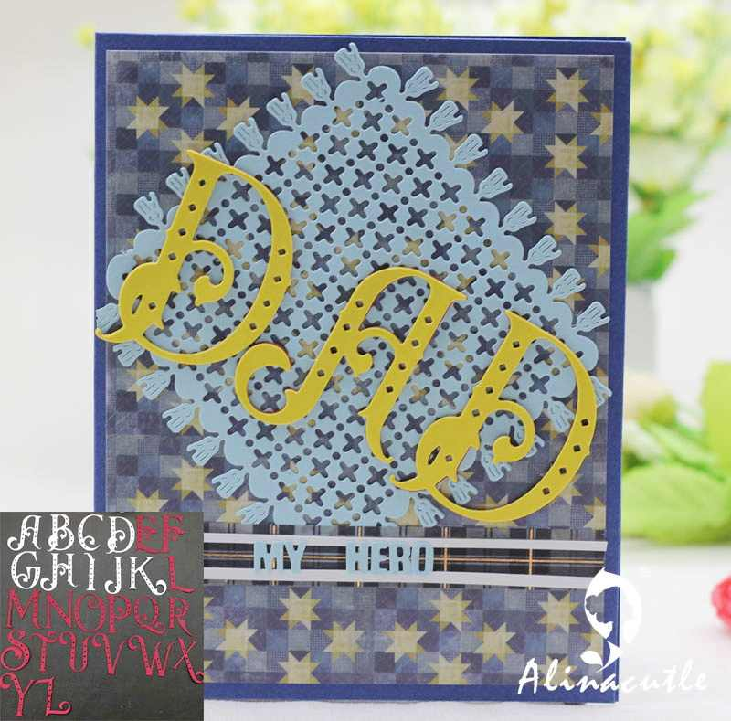 ตัดโลหะตายตัด alinacraft 26 pc MEGA 5 ซม. DOT ตัวอักษร Scrapbook craft handmade card punch art cutter die cut