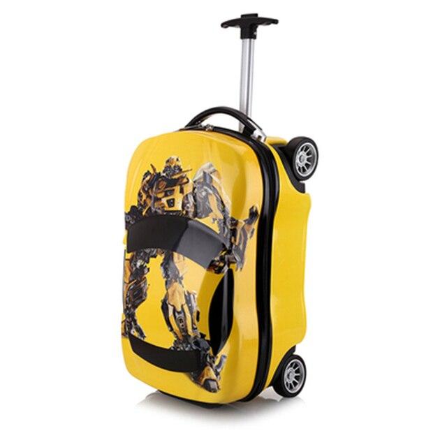 18 polegada Crianças Mala 3D caso de Viagem Do Trole Da Bagagem Mala Do Carro das Crianças conjunto de rodas mochilas Criança Brinquedos de armazenamento de Rolamento caixa
