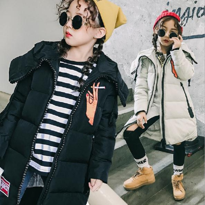 New winter children's down jacket baby boy and girl down jacket kids outerwear girl's parkas fit for height 110cm to 160cm 1015 pu leather and corduroy spliced zip up down jacket