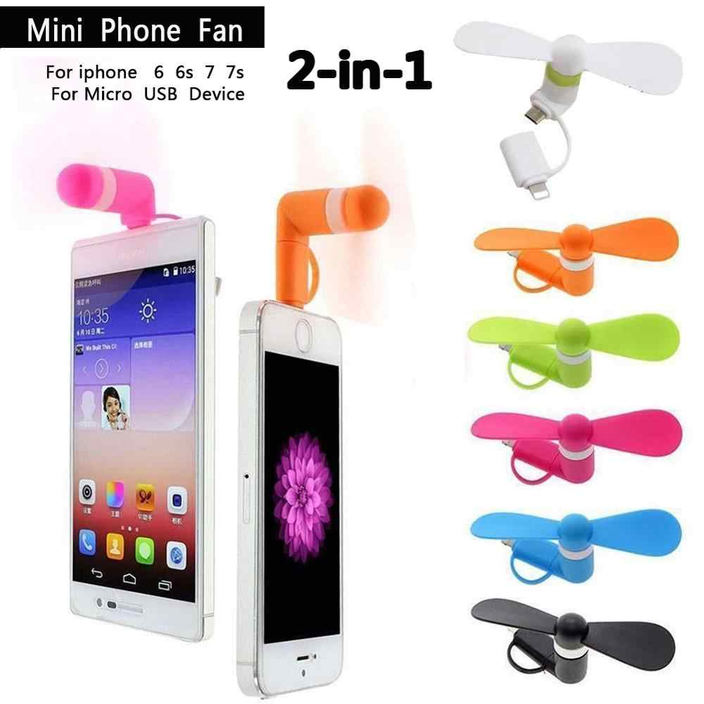 2019 Baru Portable Mini Fashion 2 In 1 Kipas Angin Mini Portabel USB Listrik Air Cooler Fan untuk Iphone Samsung
