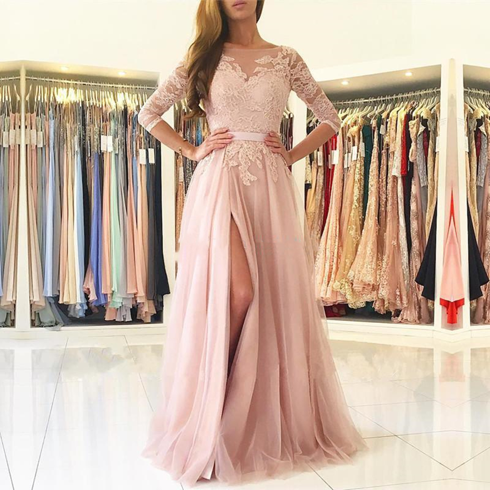 Blush Pink Split Long   Bridesmaids     Dresses   Sheer Neck 3/4 Long Sleeves Appliques Lace Maid of Honor Country Wedding Guest Gowns