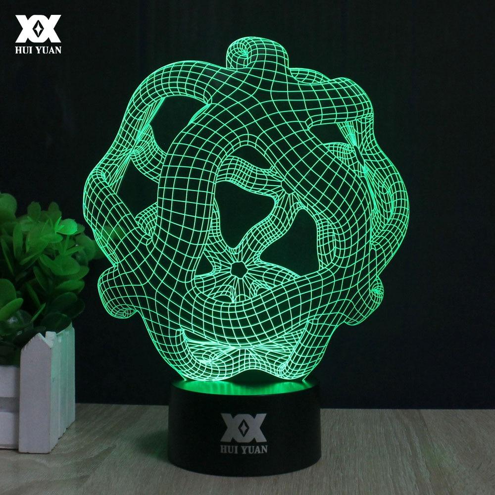 LED Abstrakt Grafisk 3D-lampa Akryl atmosfär Nattlampa 7 Färgbyte USB Desktop Dekorativ Bordslampa HUI YUAN Märke