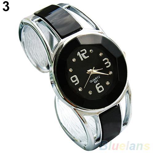 Women Fashion Opening End Quartz Analog Round Case Bracelet Bangle Wrist Watch hot