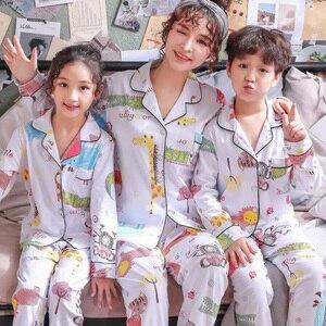 Image 3 - Boys Pajamas set Spring Cotton Family Matching Outfits Mommy and Daughter Pijamas Suit Casual Baby Girls Sleepwear kids pyjamas