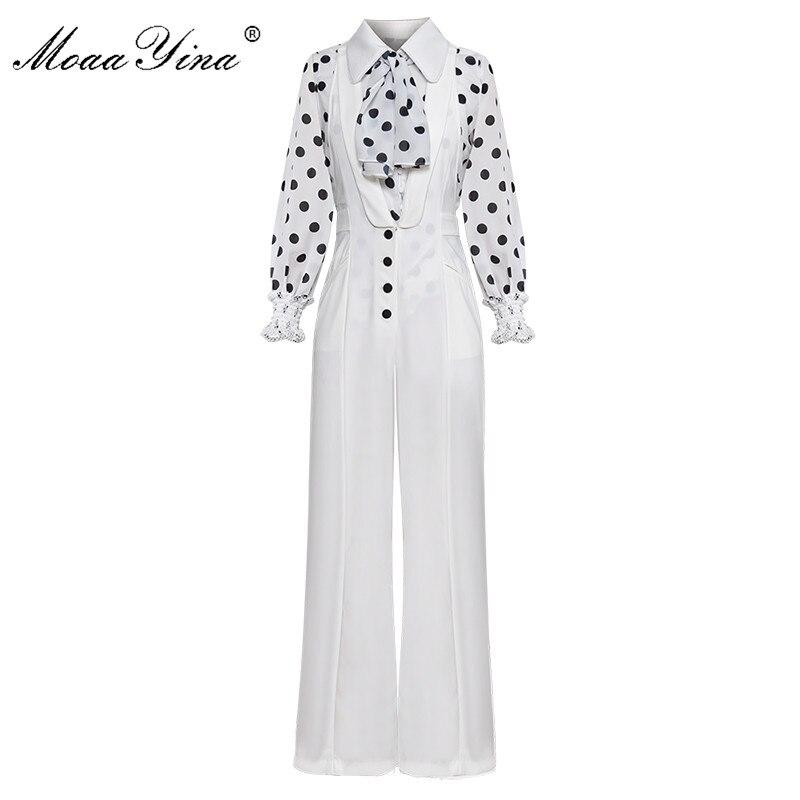 MoaaYina Scarf Turn down Collar Wave point Lantern Sleeve White Shirt Tops Spring Women Two piece