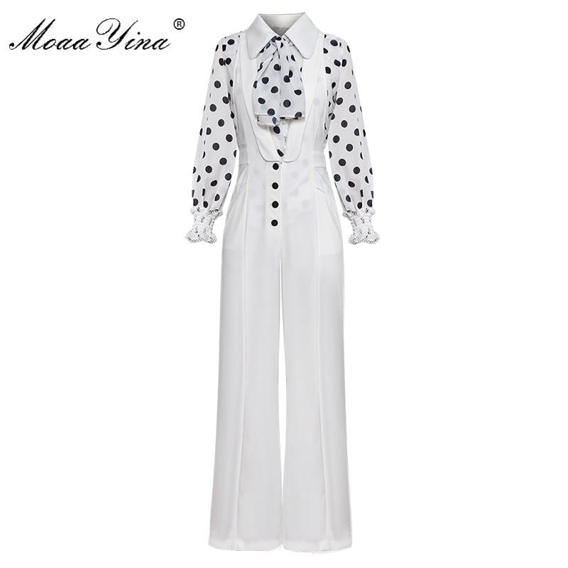 MoaaYina ผ้าพันคอ Turn   down Collar Wave point โคมไฟแขนเสื้อสีขาวเสื้อผู้หญิงฤดูใบไม้ผลิ 2 ชิ้นชุด + bell   bottomed กางเกงชุด-ใน ชุดสตรี จาก เสื้อผ้าสตรี บน   1