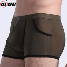 men sexy underwear gay ultra-thin ice silk boxers short big pockets genuine youth Mens Underwear Boxers wholesale
