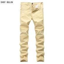 High Quality Mens Ripped Biker Jeans 100% Cotton Slim Fit Motorcycle Jeans Men Vintage Distressed Hole Denim Hip hop Jeans Pant