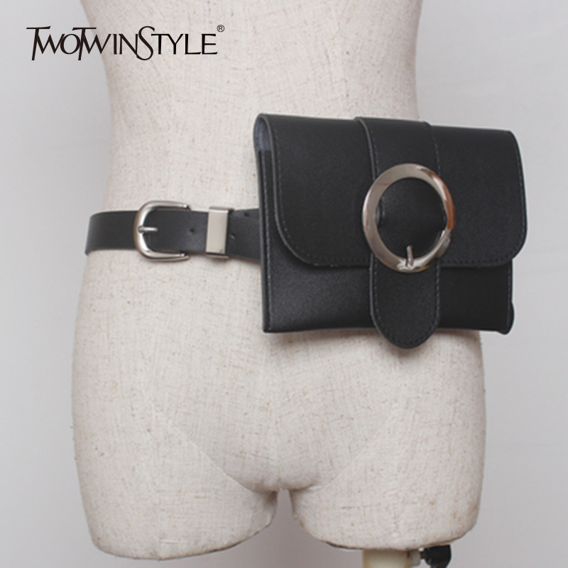 TWOTWINSTYLE Belts For Women PU Leather Sashes With Bags Black Feminine Belts Fashion Korean New Clothing Accessories