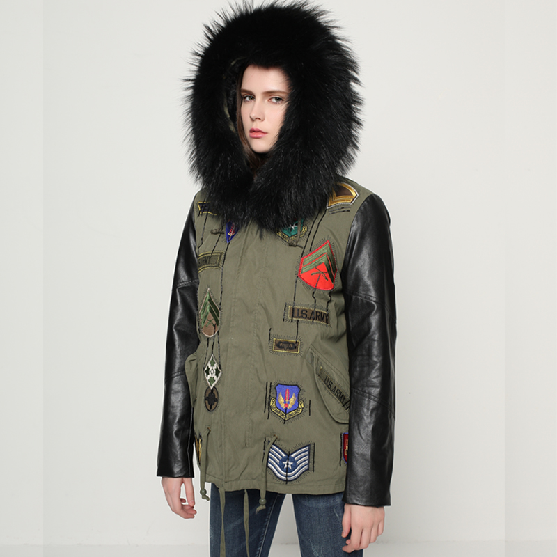 купить New Brand Parkas 2017 Large Real Natural Raccoon Fur Winter Jacket Women Coats Female Parka Army Green Thick Warm Fashion Jacket недорого