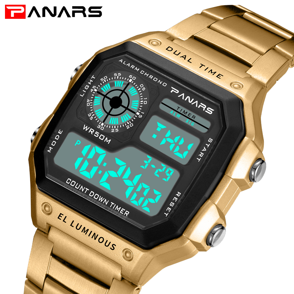 PANARS Hot Men LED Digital Watch men's Sports Watches Relogio Masculino Relojes Stainless Steel Military Waterproof Wrist watch