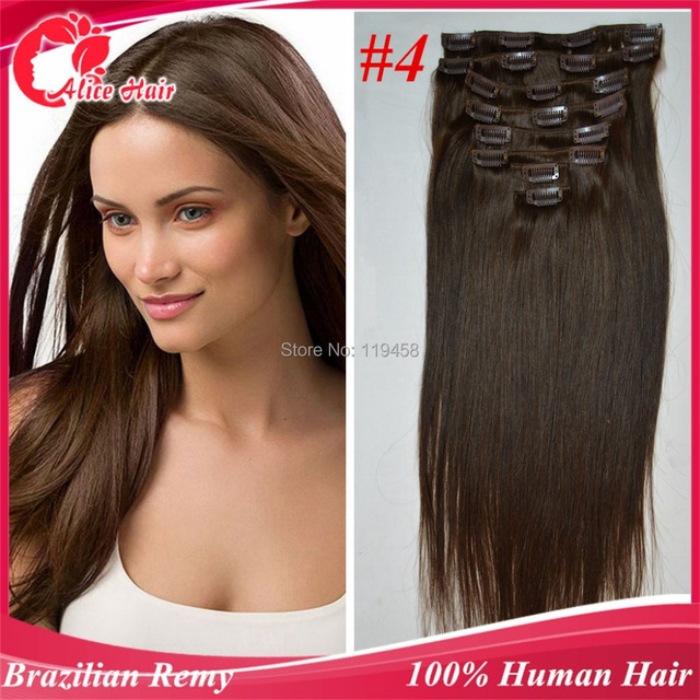 4 Medial Brownbrazilian Remy Hair Clip In Human Hair Extensions