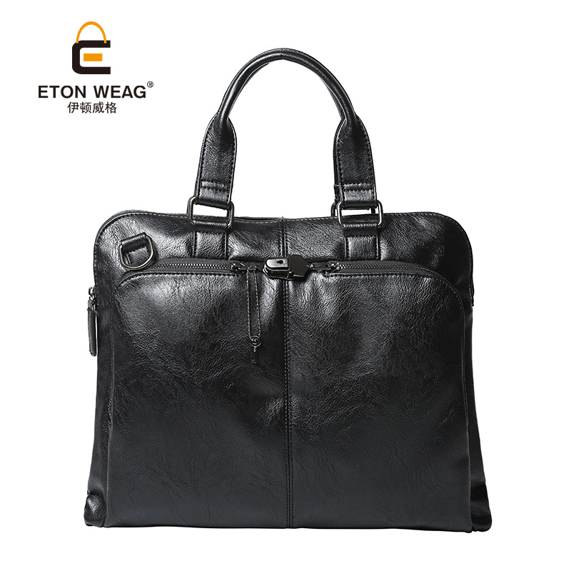 ETONWEAG Brands Luxury Handbags Women Bags Designer Italian Leather Handbag Black Luxury Laptop Bag Business Style Shoulder Bag etonweag brands italian leather designer handbags high quality black zipper men messenger bags man business shoulder laptop bag