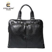 ETONWEAG New 2017 men famous brands cow leather black zipper luxury handbags fashion laptop bags business style crossbody bag