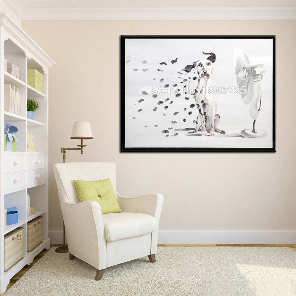 Hand Painted Modern European Living Room Wall Art Picture Home Decoration  Abstract Cute Dog Oil