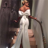 Free Shipping Missord 2019 Sexy Floor Lenght Bow backless elegant party dress strapless bodycon FT3901