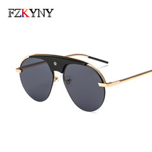 c6081e292 FZKYNY New Fashion Super Star Style Sunglasses Pop Brand Designer Women  Large Metal Frame Sunglasses Blue