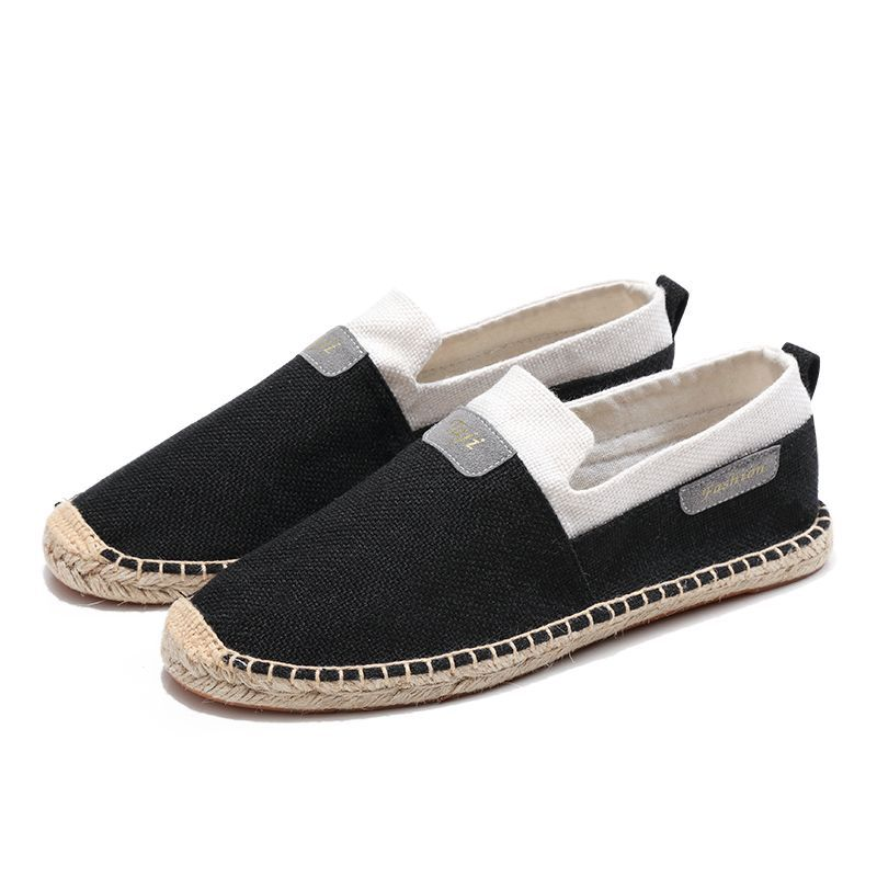 2019 Men Canvas Shoes Breathable Men 39 s Loafers Slip on Solid Black White Hemp Wrap Mens Shoes Espadrilles Fisherman in Men 39 s Casual Shoes from Shoes