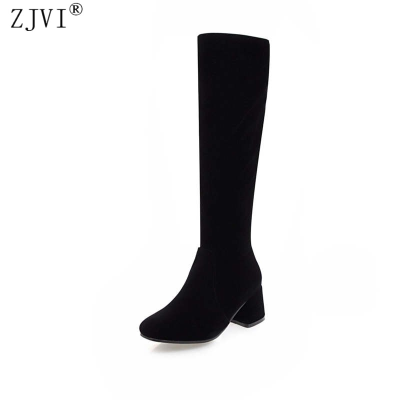 ZJVI women thigh high boots womens ladies nubuck suede winter boots woman knee high boots women 5.5cm high heels shoes 2018 yougolun ladies fashion thigh high over the knee boots woman autumn winter womens female sexy nubuck suede leather women shoes