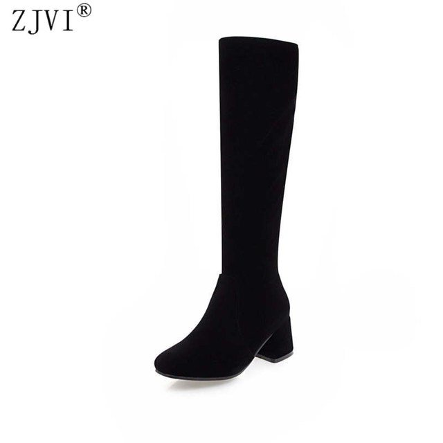 ZJVI women thigh high boots womens ladies nubuck suede winter boots woman knee high boots women 5.5cm high heels shoes 2018