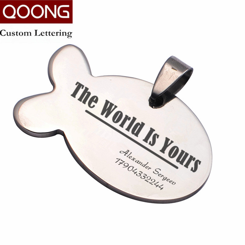 QOONG Custom Lettering Anti-lost Custom-made Metal Card Key Chain Men Women Key Ring Car Keychain Waist Hanged Key Holder P02