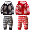 1 set free shipping Autumn And Winter new Plus velvet child Cotton stripe Warm Sweaters Set  Kids coat aTLL0073