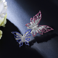 girl new hot Colourful double crystal butterfly brooches for women brooch pin broches para as mulheres fashion jewelry enamel pi