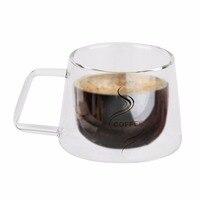 200 ML de Vidrio de Doble Capa Taza de Café Botella de Agua de Cristal de Borosilicato Taza de Té Chino de Diseño de Moda a prueba de Calor Taza de Mango