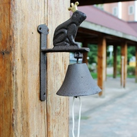 Country Rustic Door Bell The Frog Prince WELCOME Dinner Bell Wrought Iron Wall Doorbell for Home Hanging Decoration Ornaments