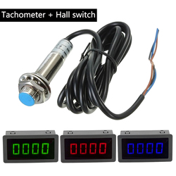 Proximity Switch Sensor NPN 10-9999RPM DC 8-15V+ 4 Digital Red/Blue/Green LED Tachometer RPM Speed Meter