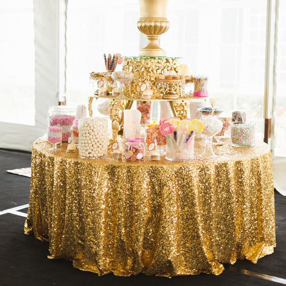 5pcs 132in round gold sequin tablecloth gold wedding for Chaise napoleon blanche