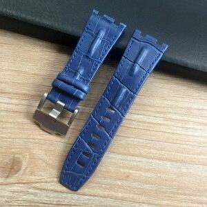 Image 4 - 28mm * 22mm (fivela) preto com branco amarelo pontos vermelho azul pulseira de couro genuíno para ap pulseira de relógio masculino