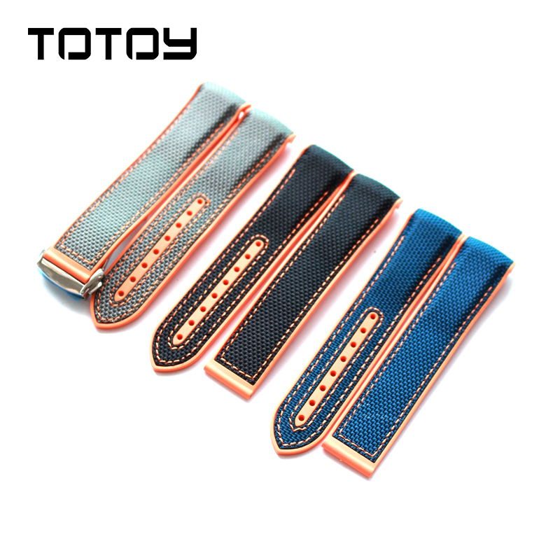 TOTOY for Omega Watchbands 9900 Universe Marine Sapphire Silicone Rubber Seahorse 8900, 22MM Rubber Nylon Watchbands