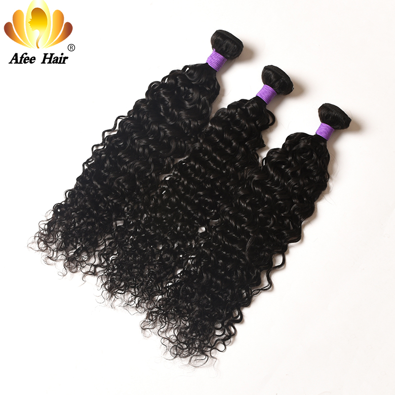 AliAfee Brazilian Water Wave Hair Weave Bundles Remy Hair 3 Bundles Deal Brazilian Curly Hair 100% Human Hair Extension