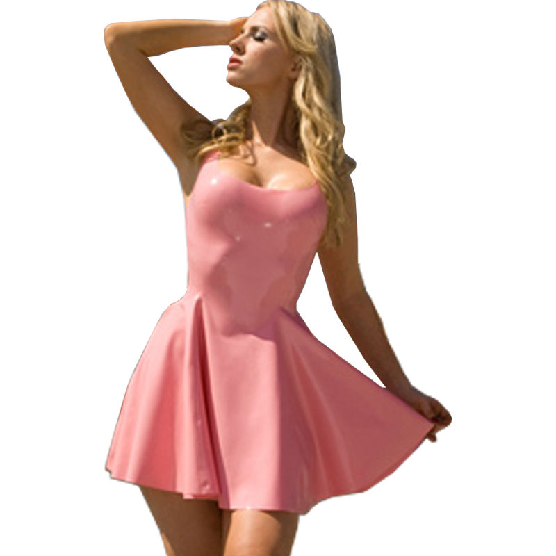 Latex Rubber Pink Apron Unisex Costumes Summer Latex Dress Gummi 0.4mm Unique Party Customize