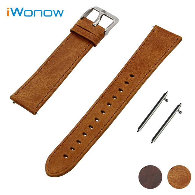 Genuine Leather Watch Band 22mm for Moto 360 2 46mm 2015 Quick Release Strap Stainless Pin Buckle Wrist Belt Bracelet Brown