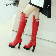 Fashion Platform Knee High Boots Women Pu Leather Square High Heel Boots Round Toe Buckle Autumn Winter Zipper Boots Woman Shoes new fashion shoes boots for women genuine leather motorcycle boots round toe casual autumn winter women knee high boots
