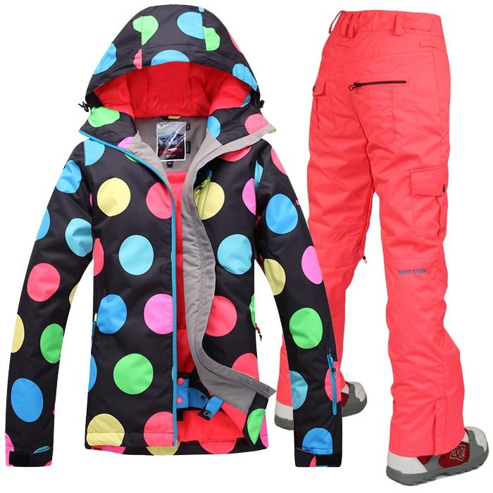 Prix pour Gsou Snow Femmes ski costume ensembles Snowboard ski vestes Et pantalons de ski sports de Plein Air Femme vêtements chauds coupe-vent imperméable