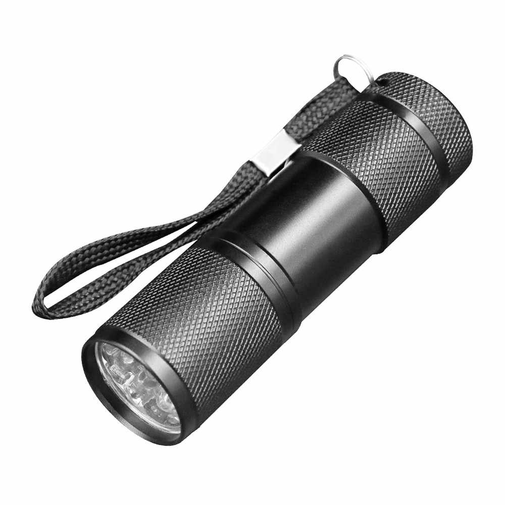 New Mini Detection 9 LED UV Ultra Violet Blacklight Flashlight Torch Light Lamp Multifunction Outdoor Accessories#h
