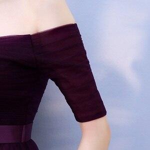 Image 4 - Beauty Emily Long Burgundy Cheap Bridesmaid Dresses 2020 A Line Off the Shoulder Half Sleeve Vestido da dama de honra