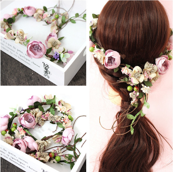 2017 the bride headdress vines manual Flower Wreath rose Flower Crown hair wedding wreath headwear decoration girl bride of the water god v 3