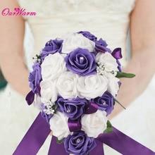 Красивые Искусственные цветы свадебный букет роз ручной работы Шелковый букет кристалл Свадебные украшения событие для вечеринок