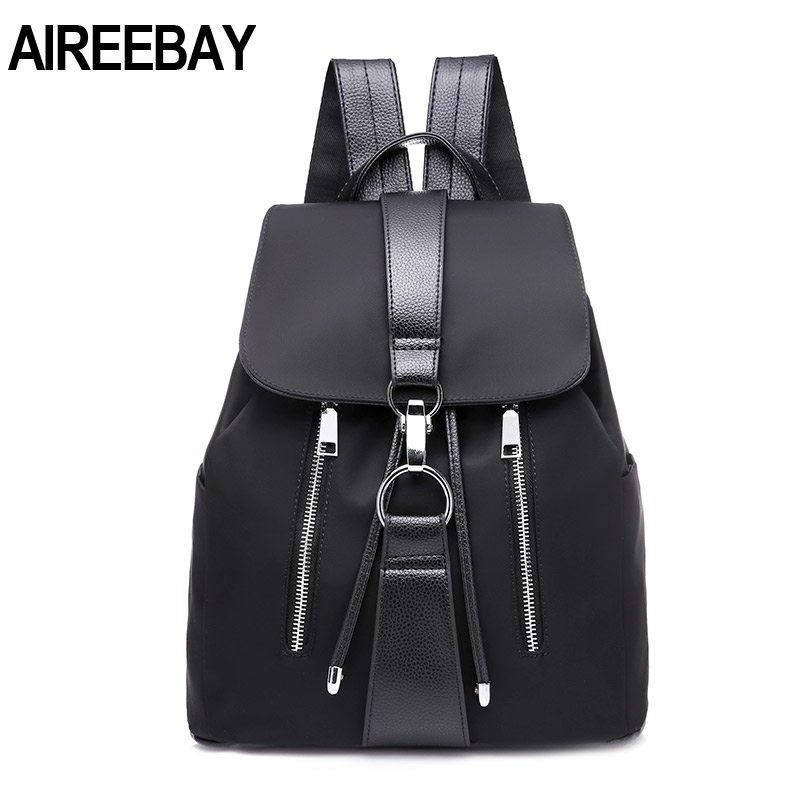 AIREEBAY New Fashion Women's Backpack 2019 Vintage Nylon Backpack School Bag Ladie's Travel Bags Large Capacity Travel Backpack