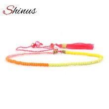 Shinus Women Beaded Bracelets Strand Pulseira Femme Jewelry Bijoux Seed Beads Handmade Tassel Braided Friendship Bracelet HB561 braided strand bracelet watch