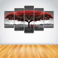 5 Panel Printed Red Tree Art Scenery Landscape Modular Picture Large Canvas Painting For Bedroom Living