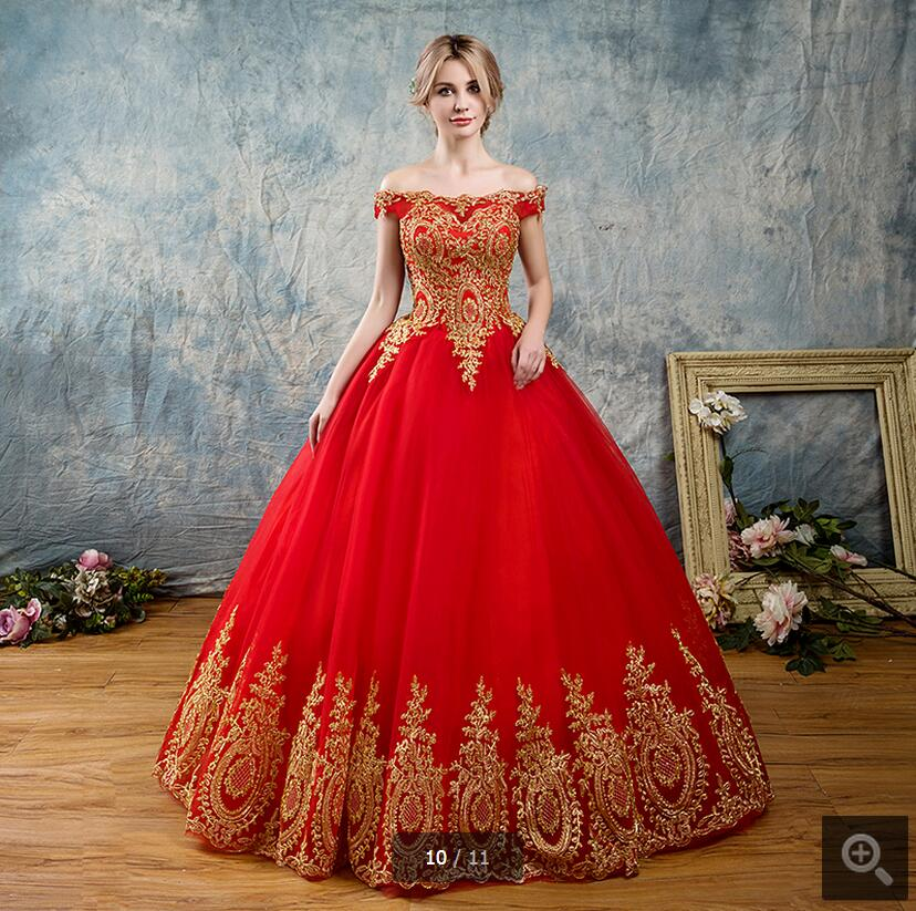 Gold Gowns Wedding: Gorgeous Red Wedding Dresses Ball Gowns 2019 Gold Applique